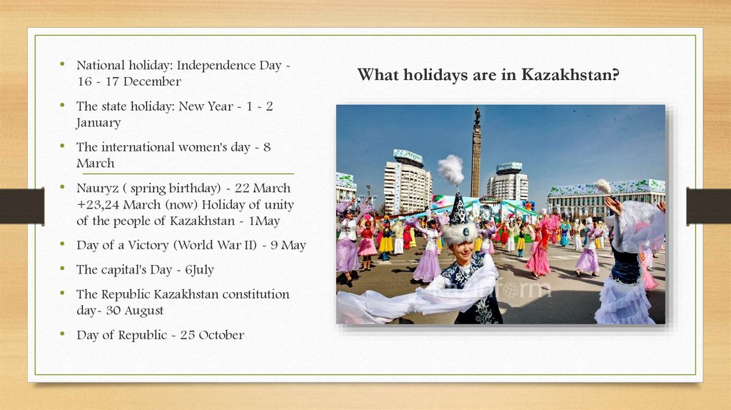 What holidays are in Kazakhstan?