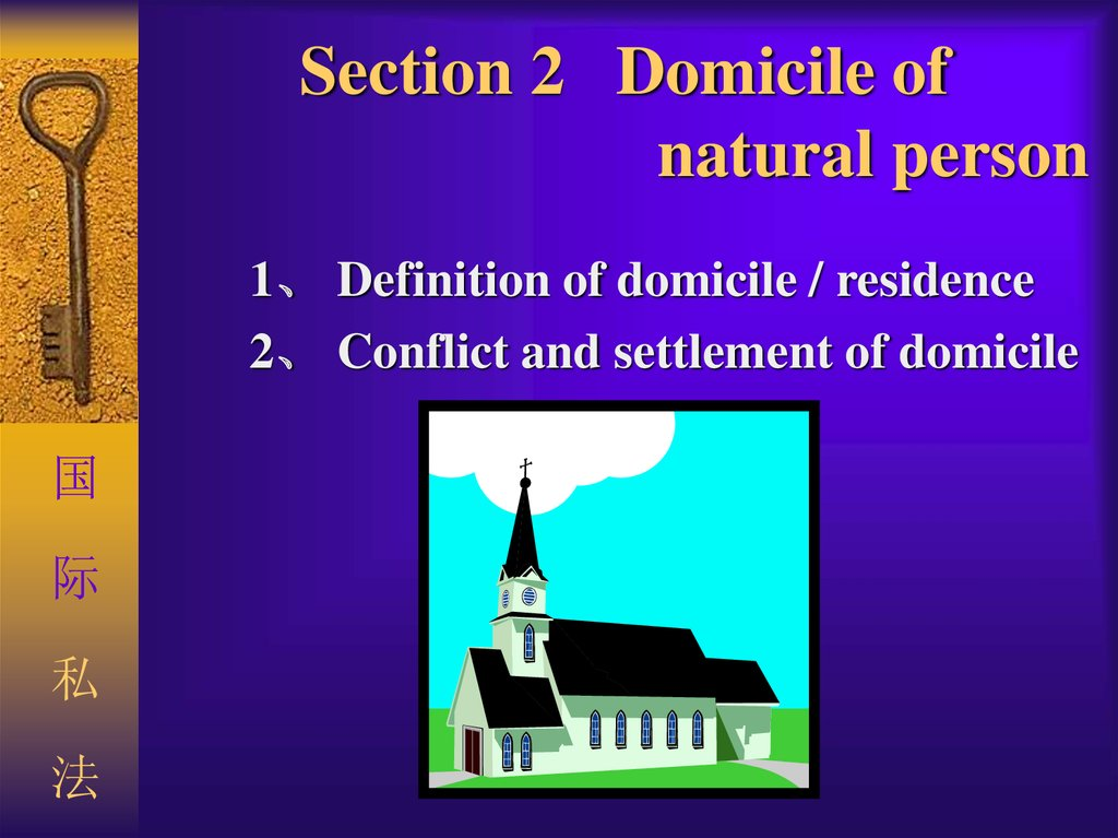 Section 2 Domicile Of Natural Person 1、 Definition Of Domicile / Residence  2、 Conflict And Settlement Of Domicile 国际私法