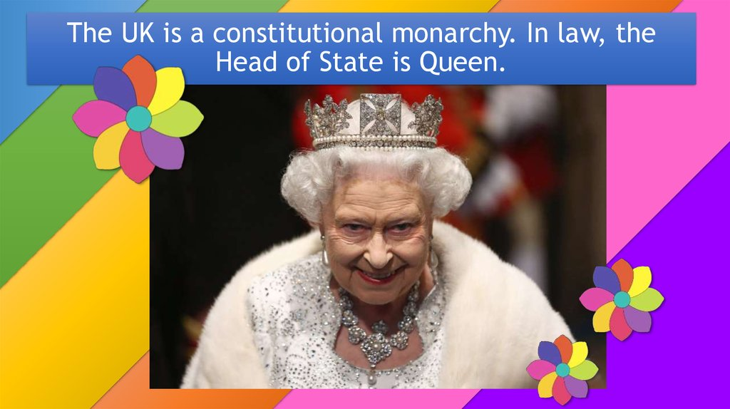 The UK is a constitutional monarchy. In law, the Head of State is Queen.