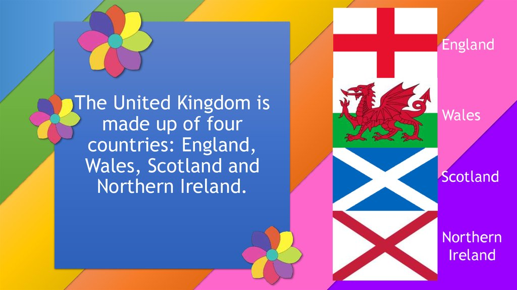 The United Kingdom is made up of four countries: England, Wales, Scotland and Northern Ireland.
