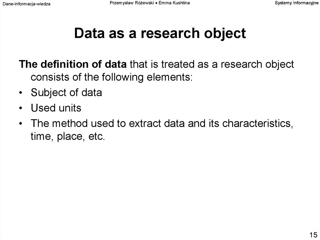 Data as a research object