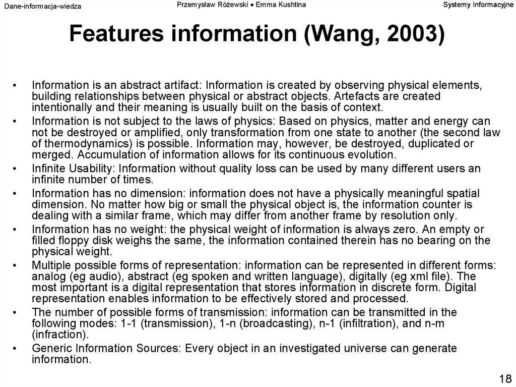 Features information (Wang, 2003)