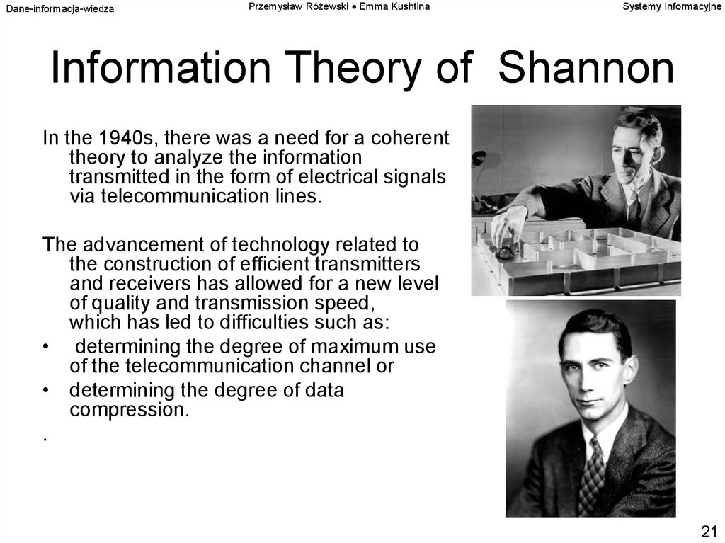 Information Theory of Shannon