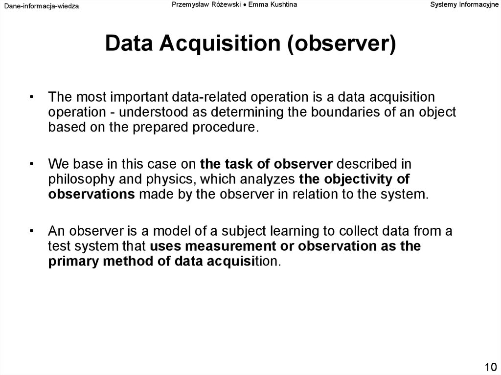 Data Acquisition (observer)