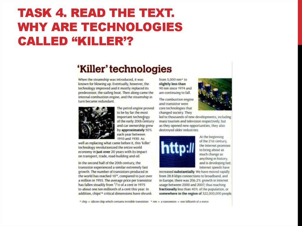 "Task 4. Read the text. Why are technologies called ""killer'?"