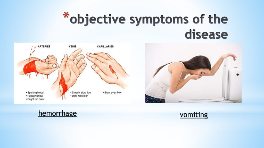 objective symptoms of the disease
