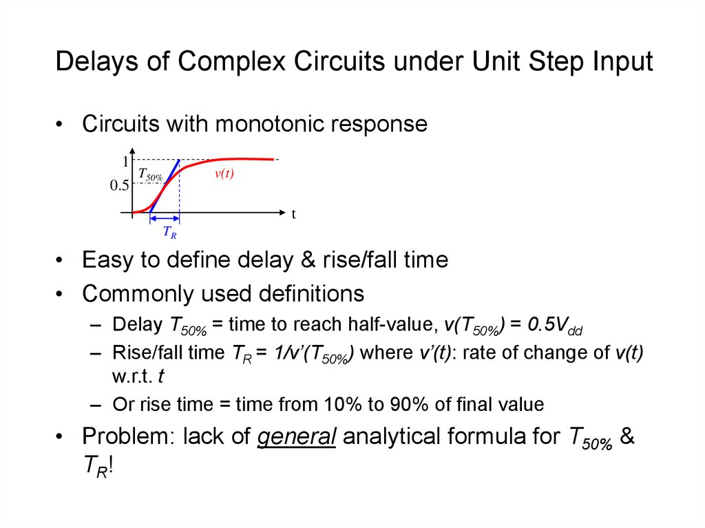Delays of Complex Circuits under Unit Step Input