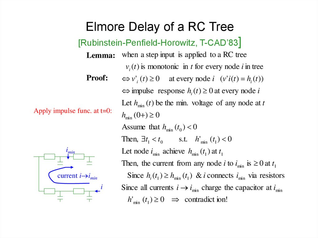 Elmore Delay of a RC Tree [Rubinstein-Penfield-Horowitz, T-CAD'83]