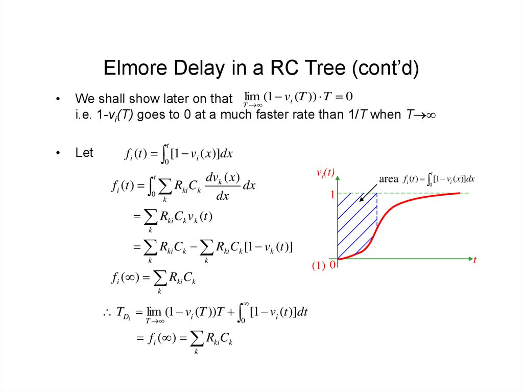 Elmore Delay in a RC Tree (cont'd)