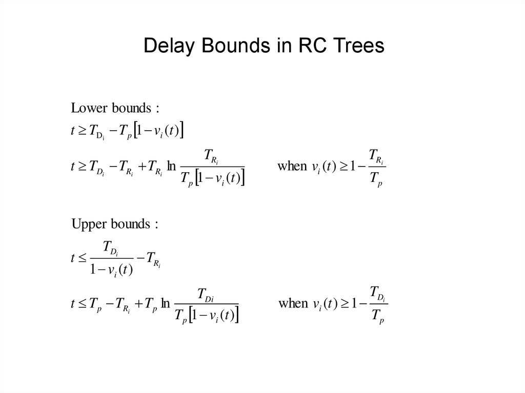Delay Bounds in RC Trees