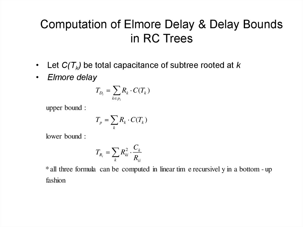 Computation of Elmore Delay & Delay Bounds in RC Trees