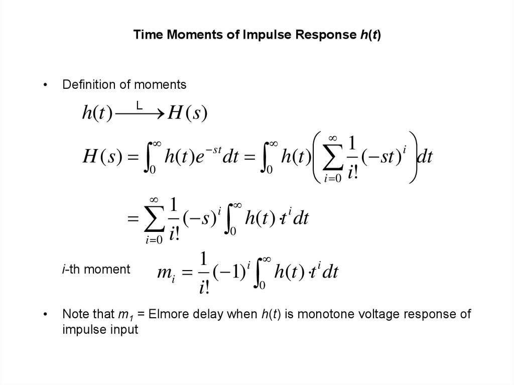 Time Moments of Impulse Response h(t)