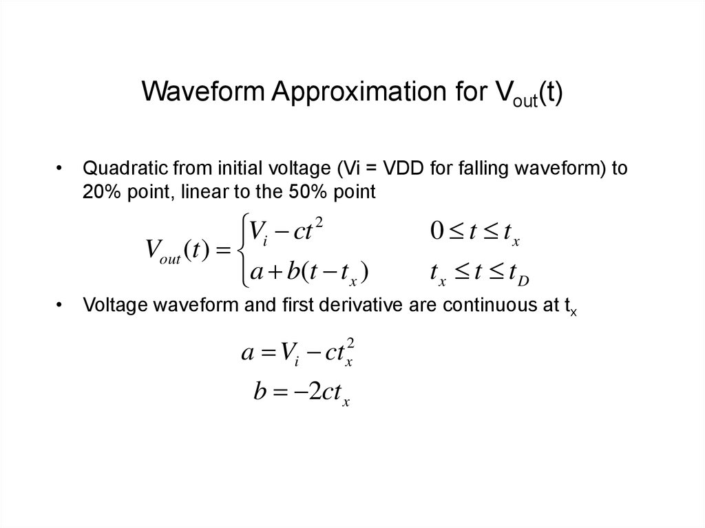Waveform Approximation for Vout(t)