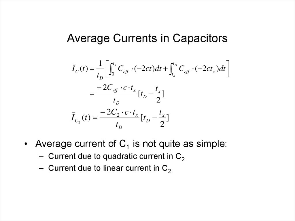 Average Currents in Capacitors