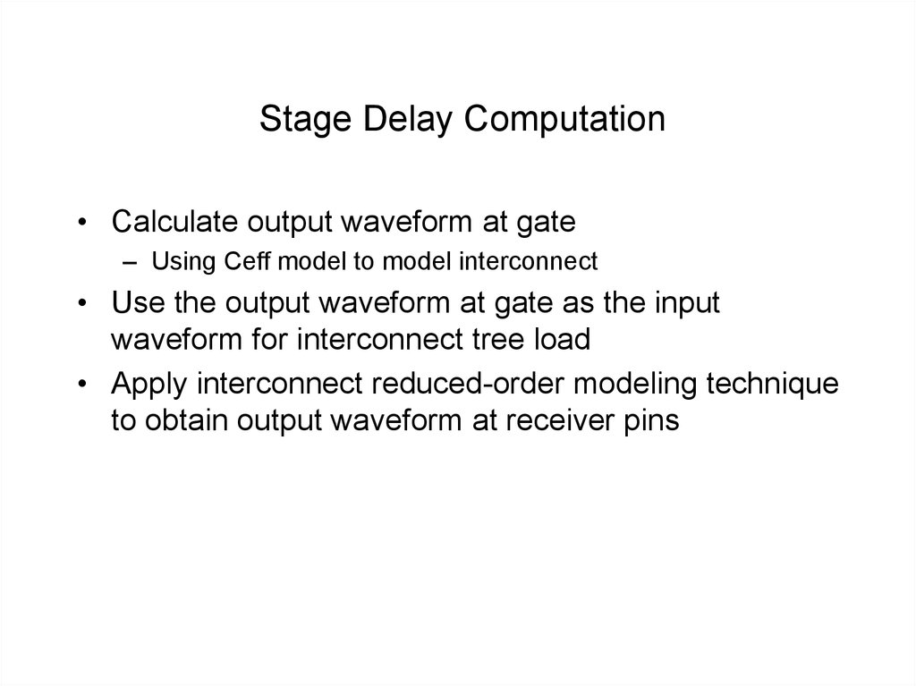 Stage Delay Computation