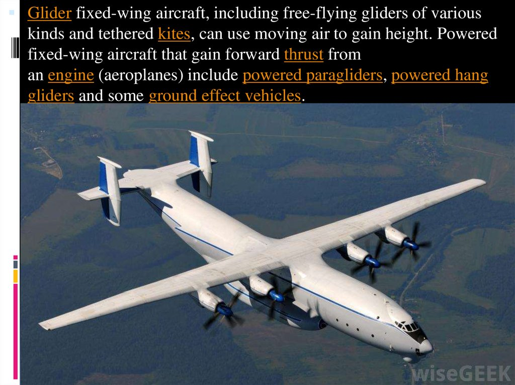 Fixed wing aircraft - online presentation