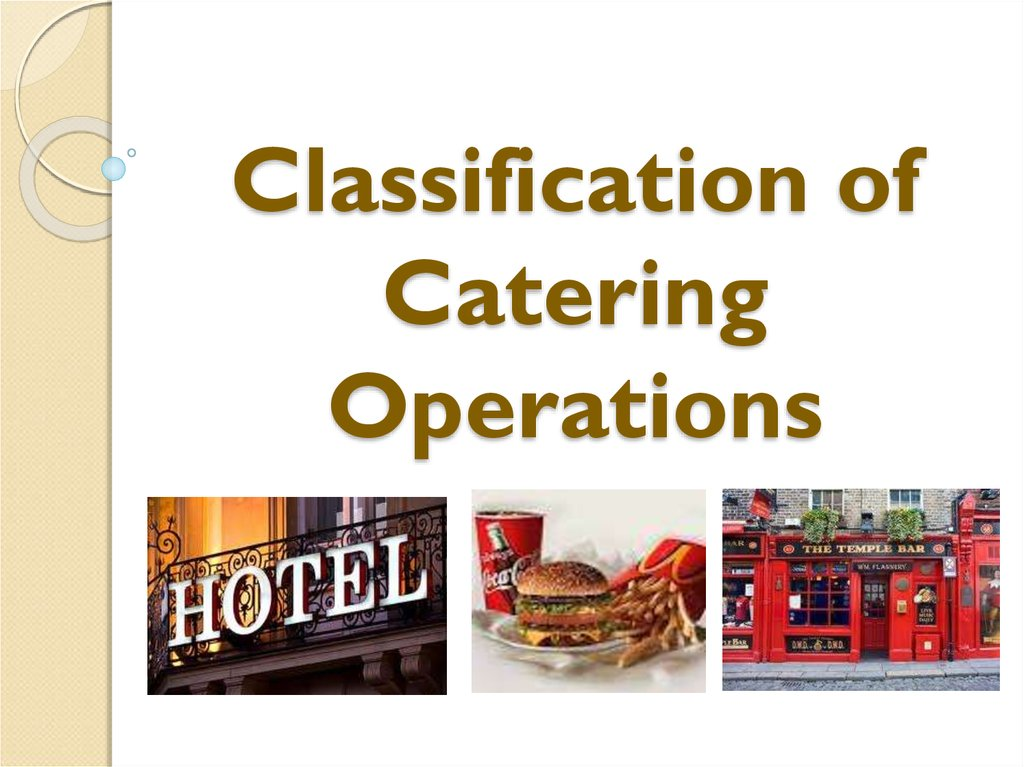 Classification of Catering Operations