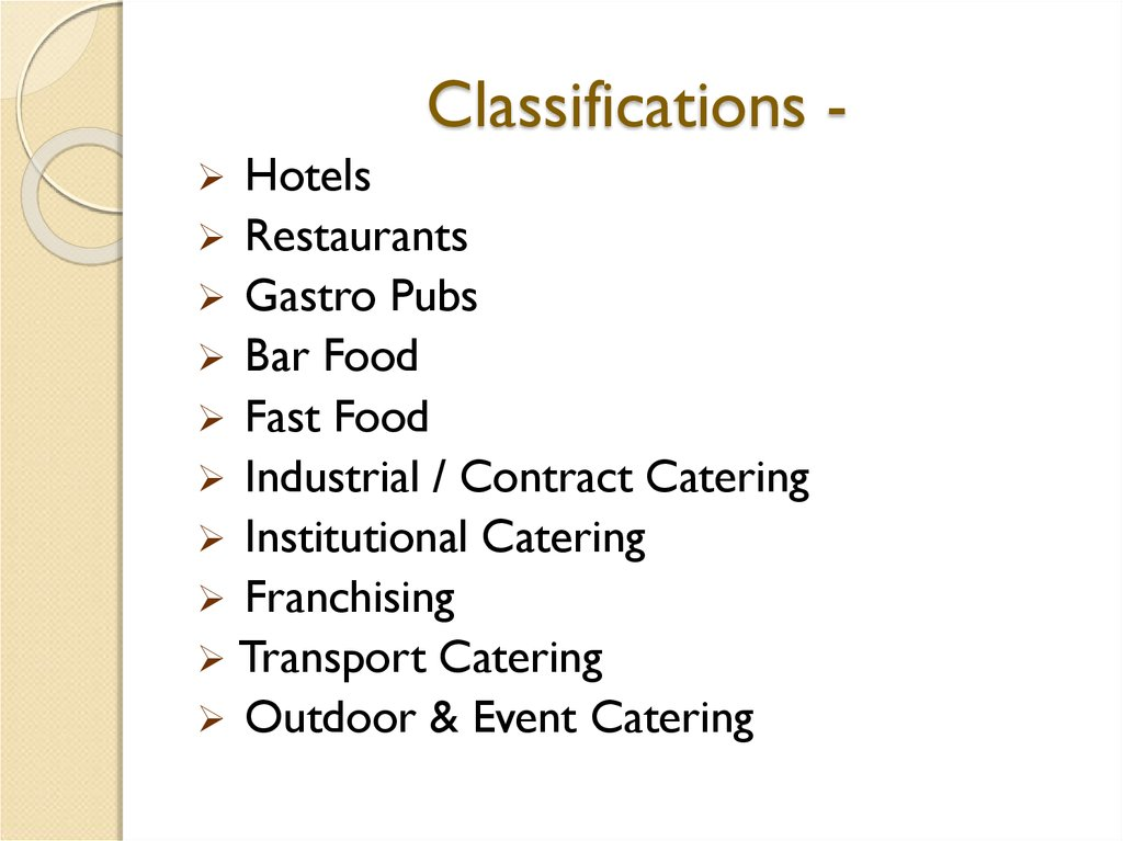 Classifications -