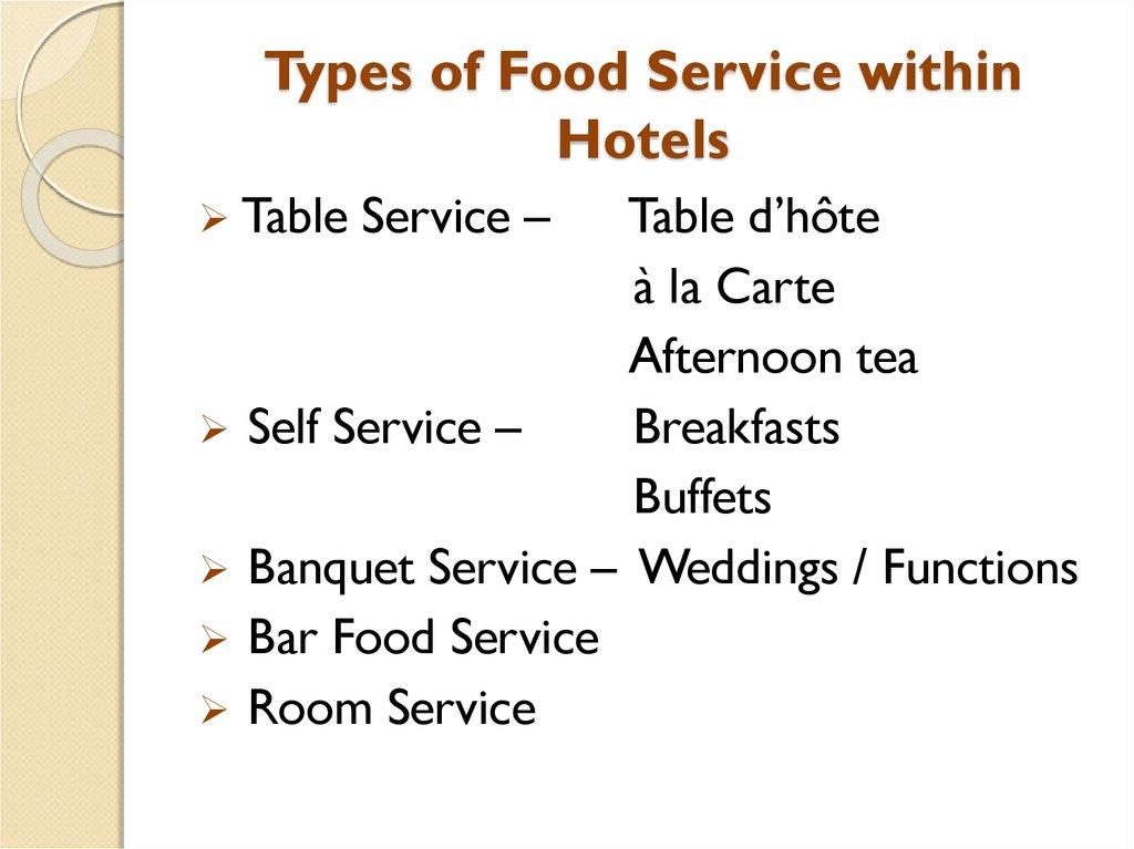 Types of Food Service within Hotels