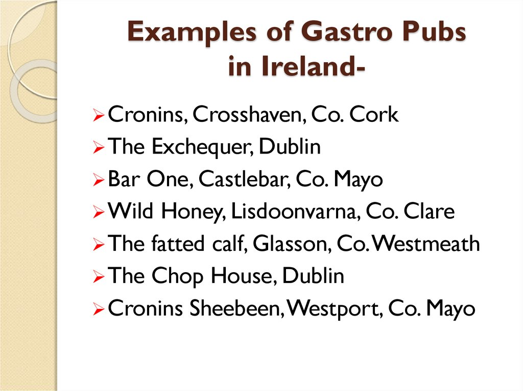 Examples of Gastro Pubs in Ireland-