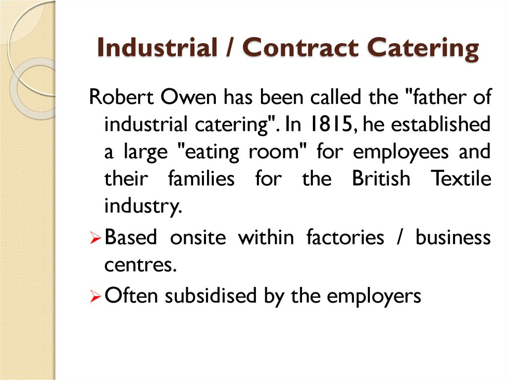 Industrial / Contract Catering