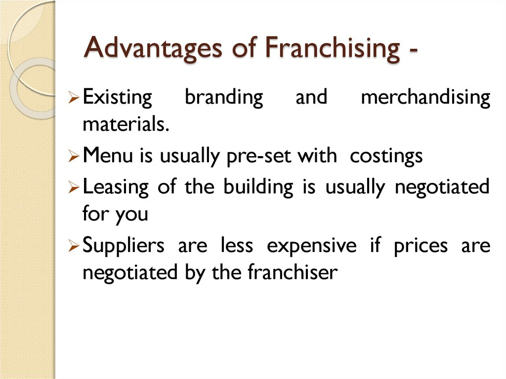 Advantages of Franchising -