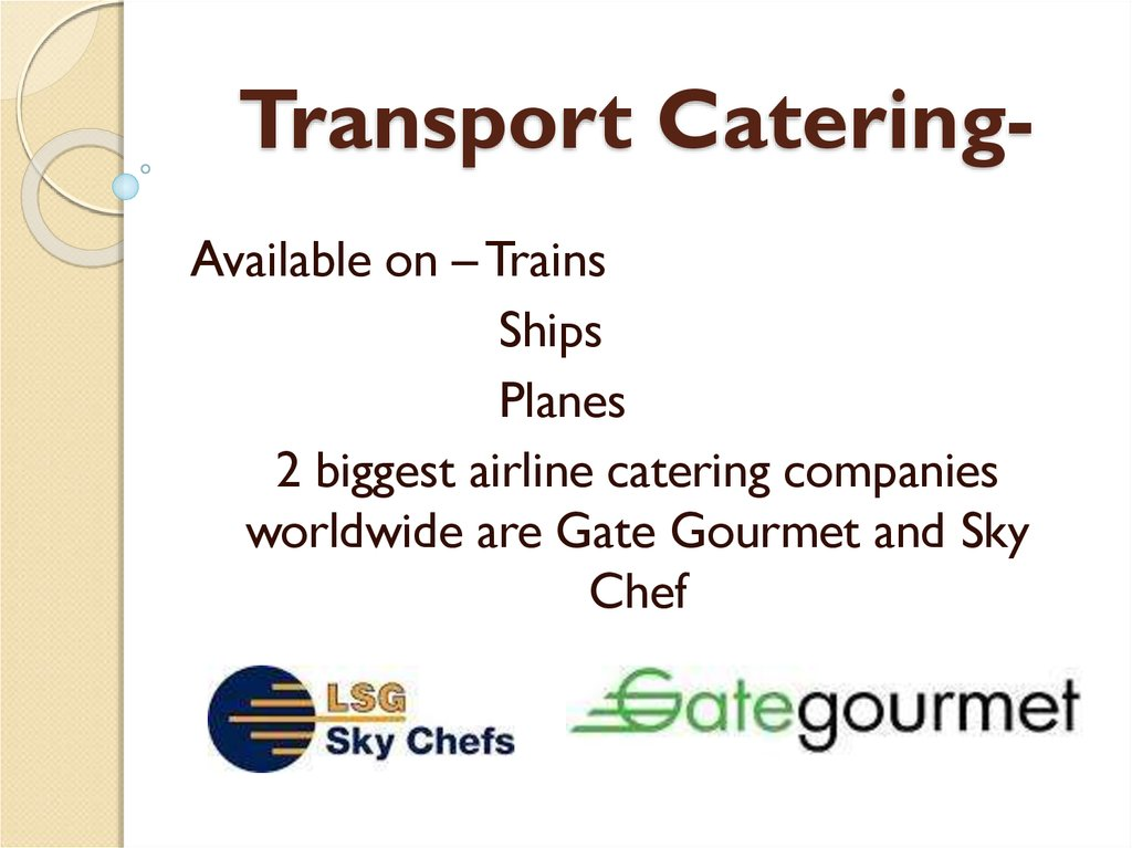 Transport Catering-