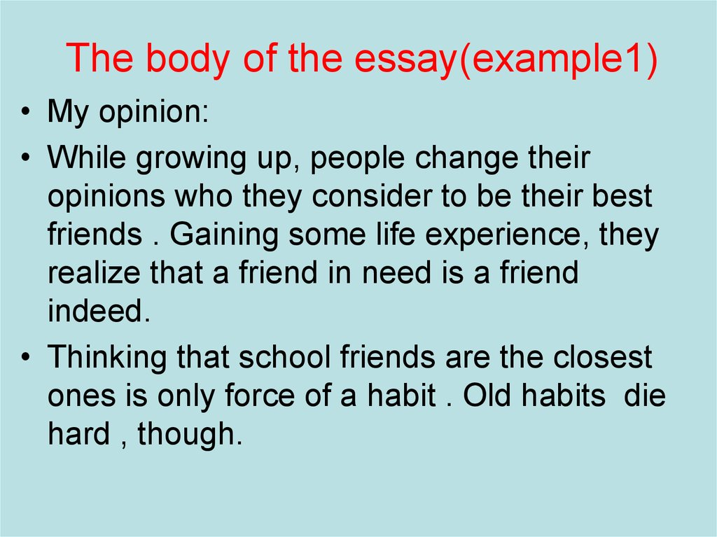 The body of the essay(example1)