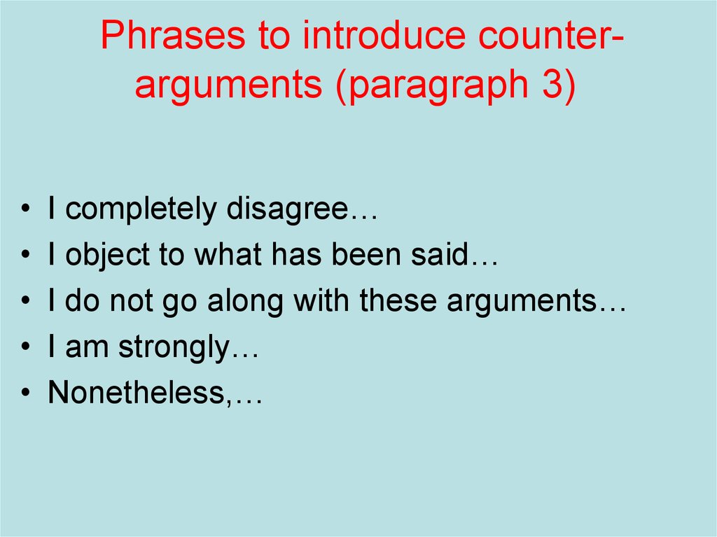 Phrases to introduce counter-arguments (paragraph 3)