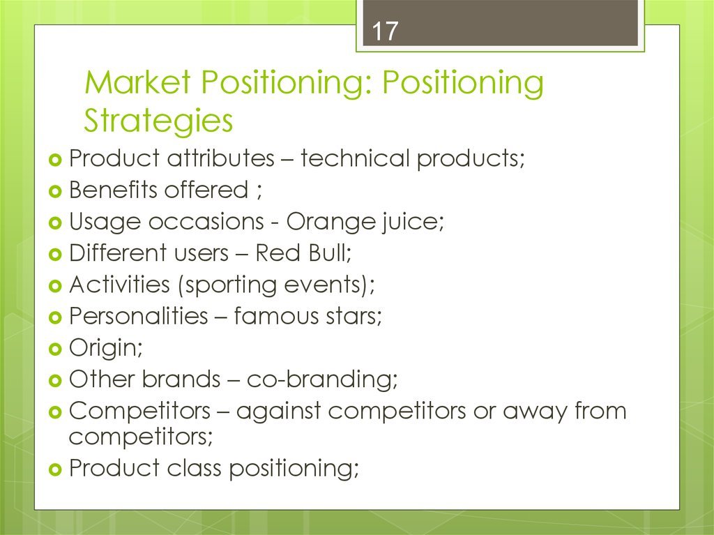 what marketing targeting and positioning would you recommend for a selected britvic brand Talk:segmenting-targeting-positioning defining the target market is a step that is recommended product or brand positioning which refers to how a brand.