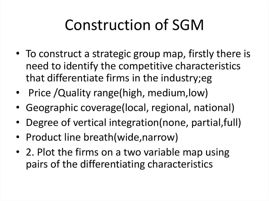 Construction of SGM