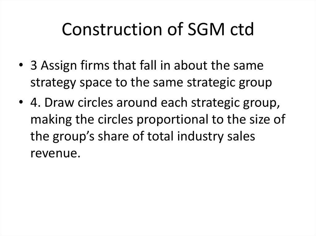 Construction of SGM ctd