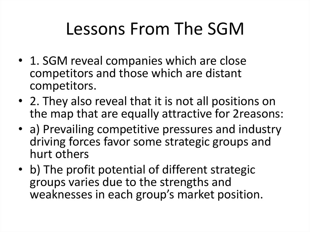 Lessons From The SGM