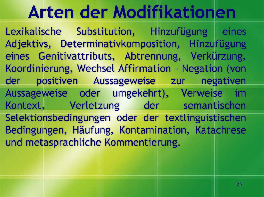 Arten der Modifikationen