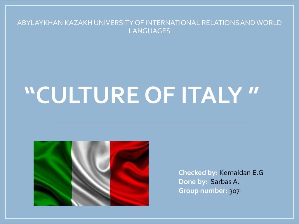 """culture of Italy """