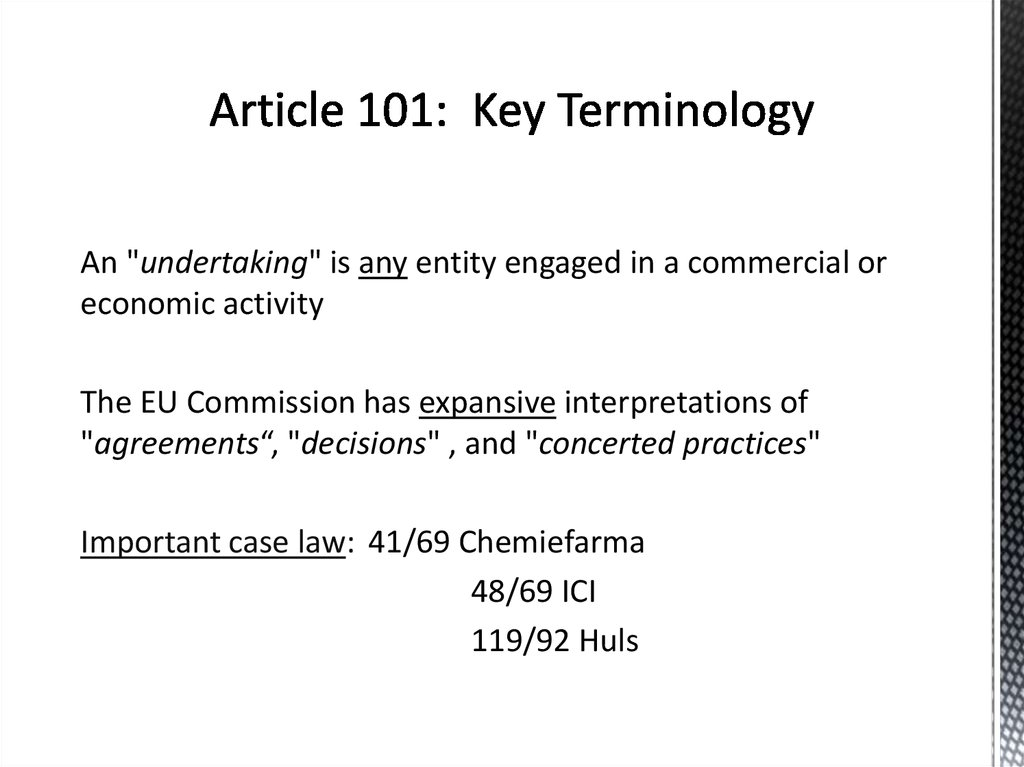 Article 101: Key Terminology