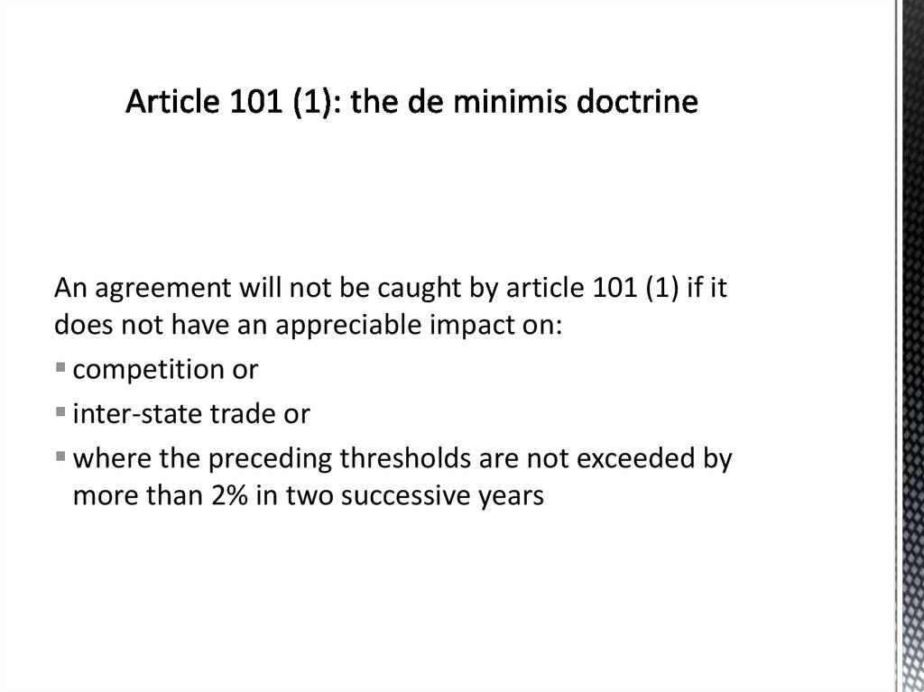 Article 101 (1): the de minimis doctrine