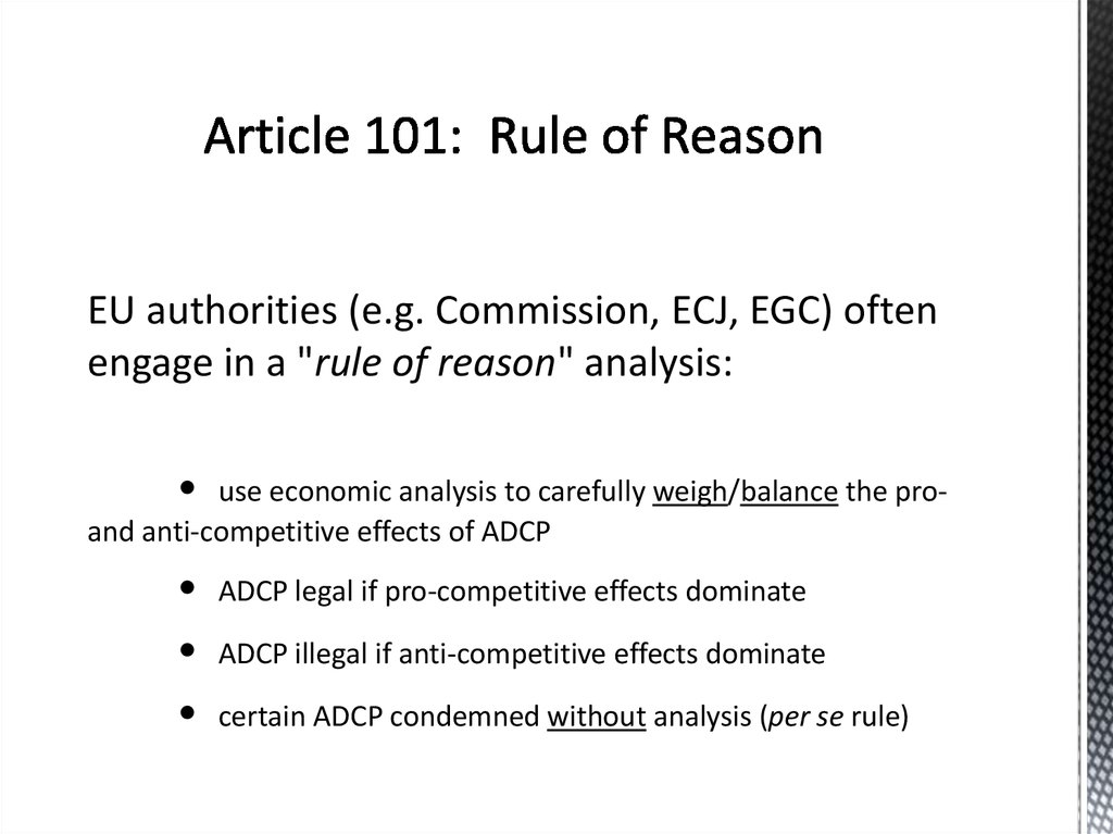 Article 101: Rule of Reason