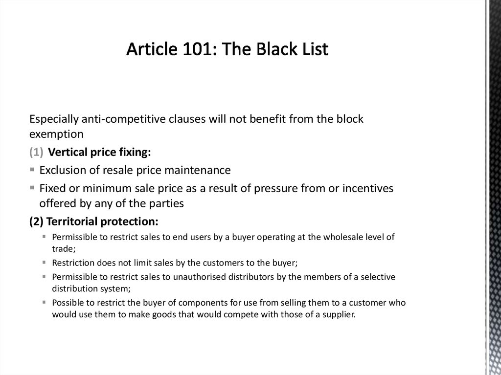 Article 101: The Black List