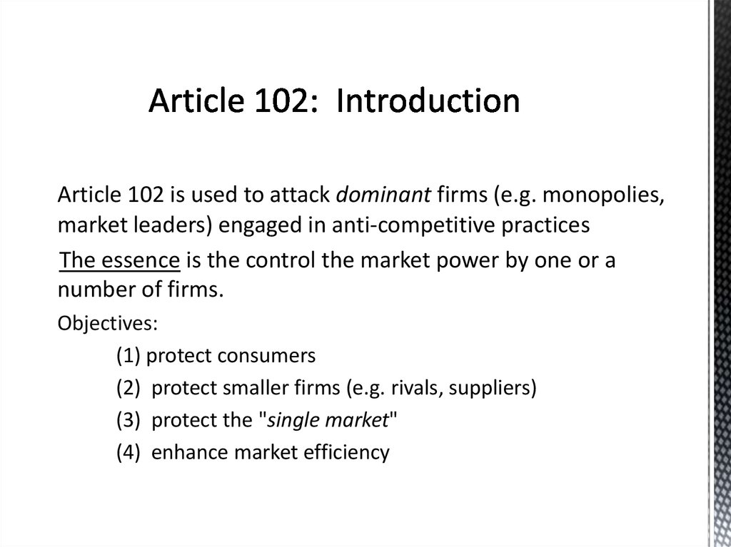 Article 102: Introduction