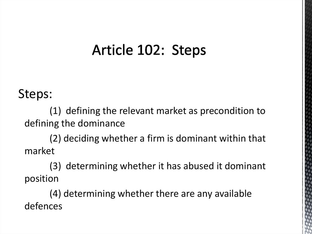 Article 102: Steps