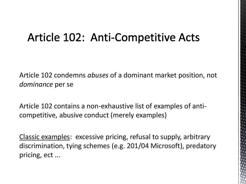 Article 102: Anti-Competitive Acts
