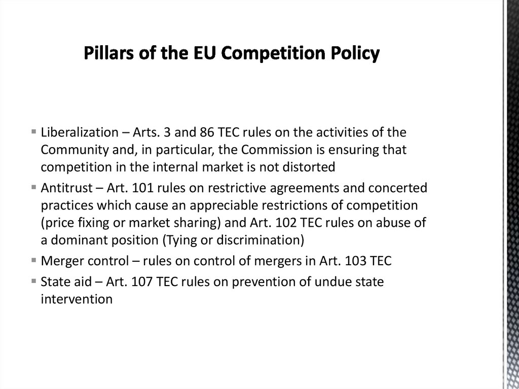 Pillars of the EU Competition Policy
