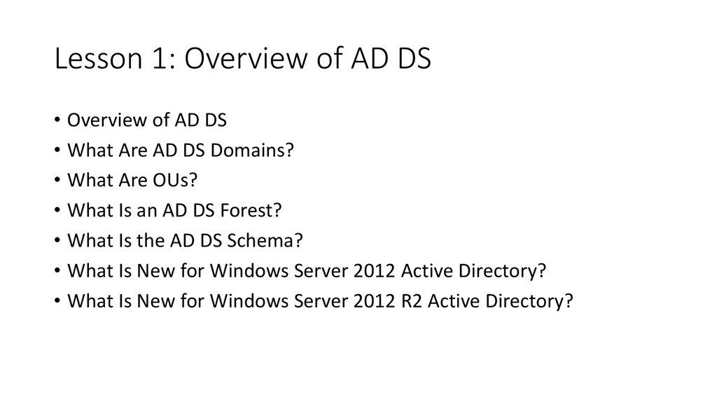 Lesson 1: Overview of AD DS