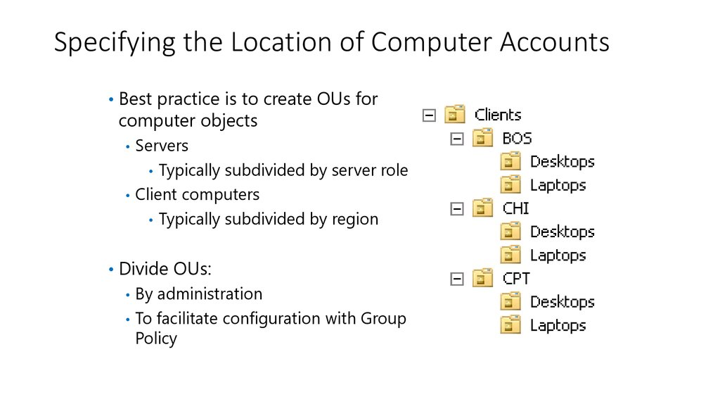 Specifying the Location of Computer Accounts
