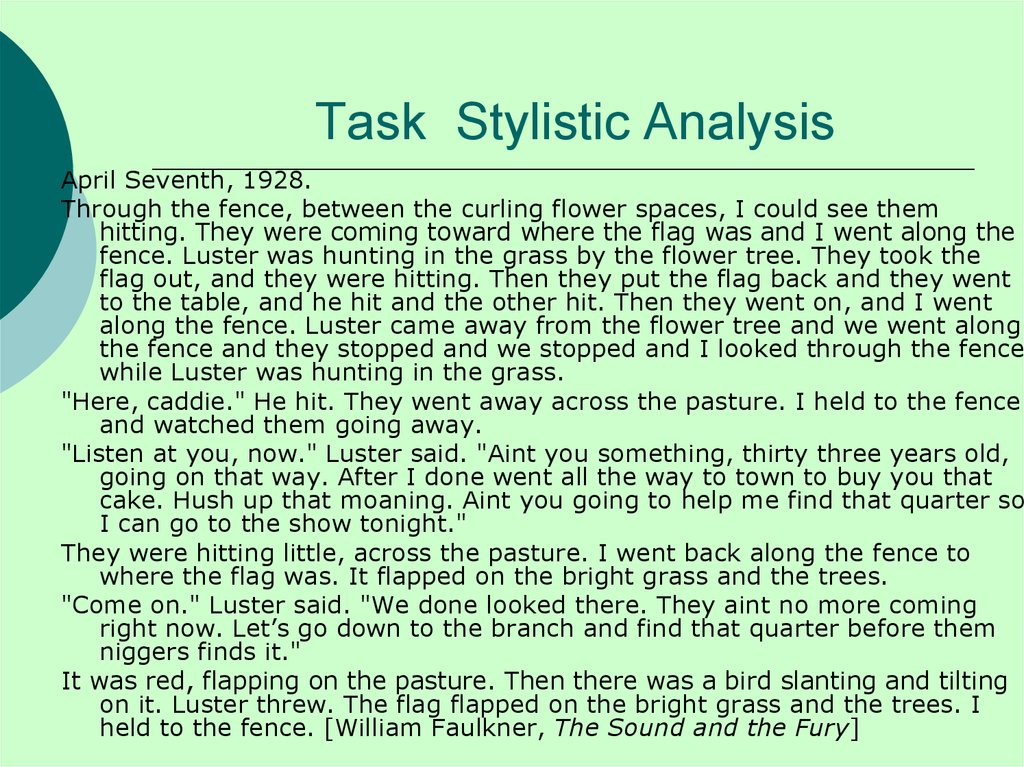 Task Stylistic Analysis