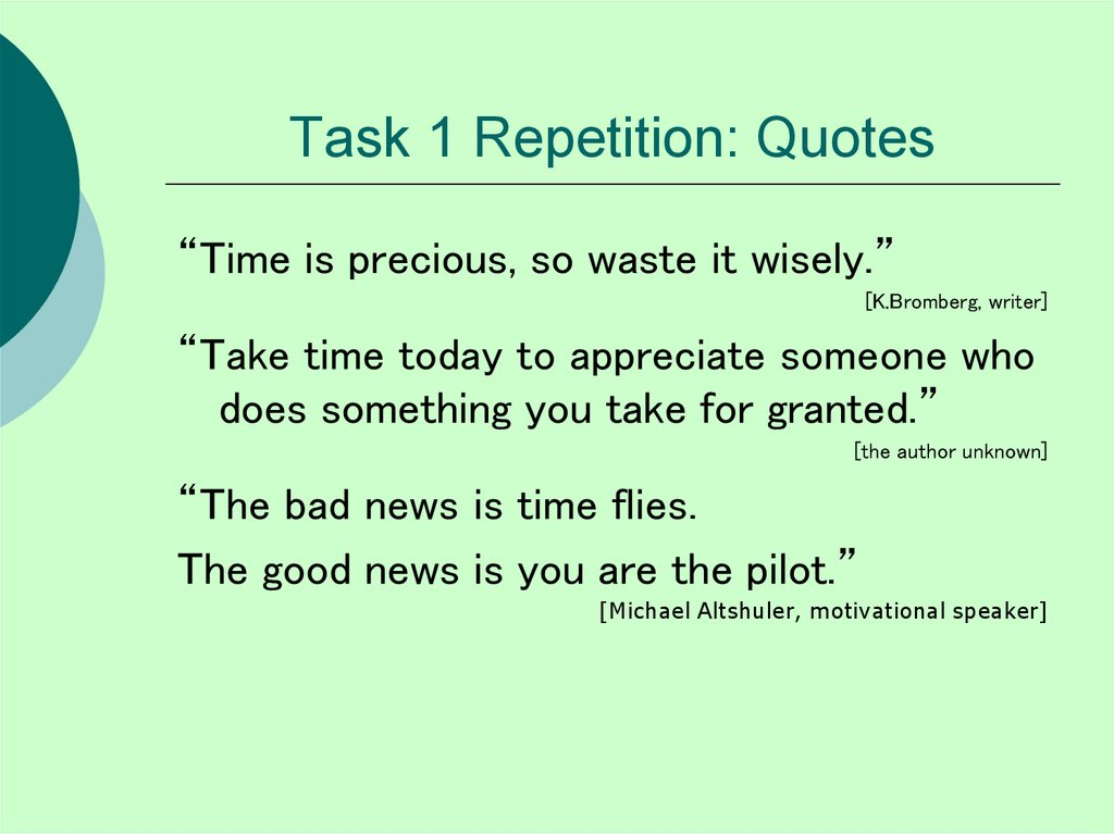 Task 1 Repetition: Quotes
