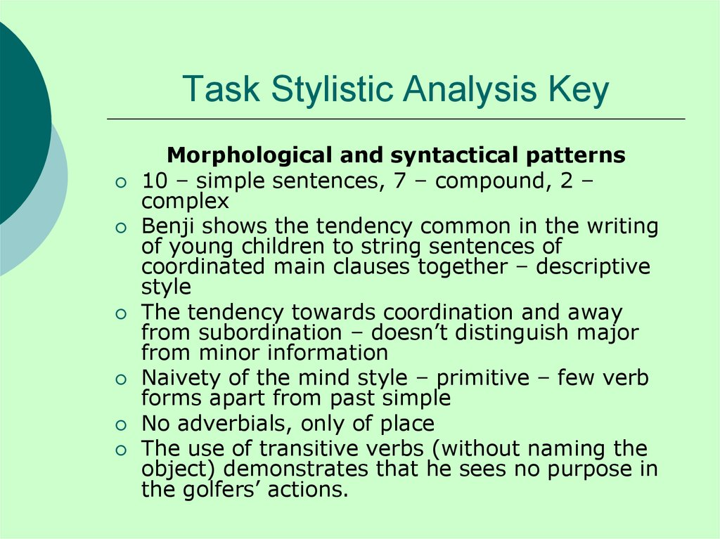 Task Stylistic Analysis Key