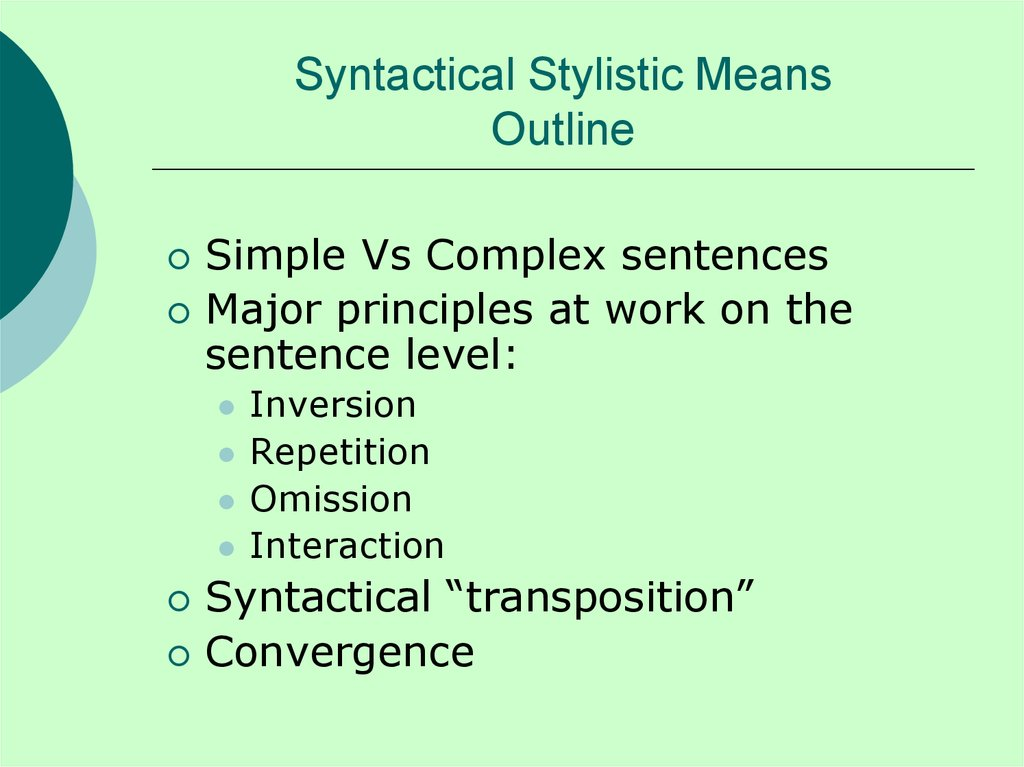 Syntactical Stylistic Means Outline