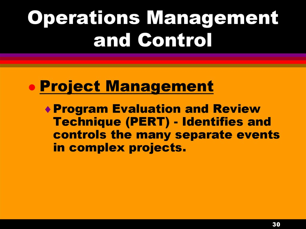Operations Management and Control